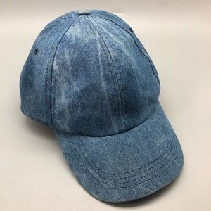 Zara Man Acid Wash blue denim ball cap / hat